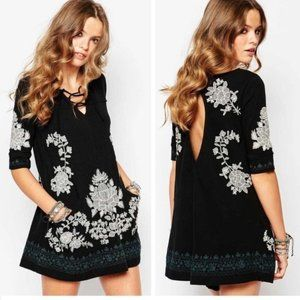 Free People black white floral embroidered dress